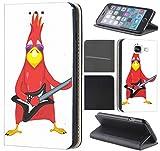 CoverFix Premium Hülle für Samsung Galaxy J5 (Modell 2017) J530F Flip Cover Schutzhülle Kunstleder Flip Case Motiv (1009 Vogel Bird rot mit Gitarre Cool Rock Angry)