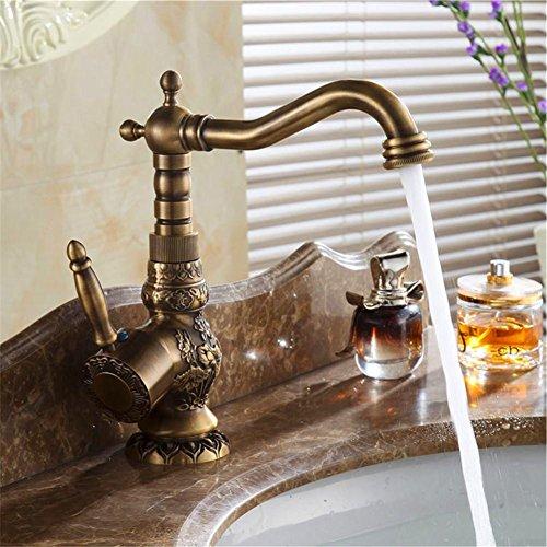 HomJo Lavabo de grifo del lavabo de la sola manija Grifo de agua caliente y fría del latón antiguo 360 grados que giran
