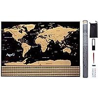 Mapa Mundi para Rascar – Scratch World Map – Póster Grande (82,00 x 59,00 cm) del Mundo Ideal para tus Viajes. Incluye Set con Pegatinas + Lupa + Herramientas de Rayado.