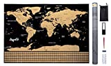 ARPELIFE Rubbel Weltkarte - Scratch World Map - XXL Poster (82 x 59cm) Rubbelkarte schwarz/Gold Wand oder für Reisen, inkl. Aufkleber + Lupe + Rubbelwerkzeuge.