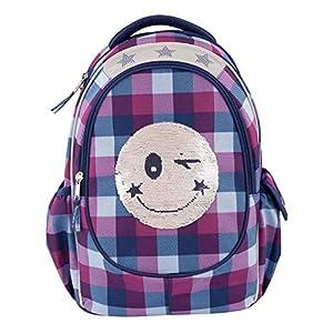 51pPfQUeLZL. SS300  - Depesche 10208 Topmodel Smiley - Mochila escolar con lentejuelas, color azul