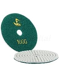 acmebuy (TM) 1pc ejército verde 100mm 4pulgadas Profesional Wet/Dry granito mármol hormigón Diamante Pulido Pads Disco Lijadora Pad granos) # 1000