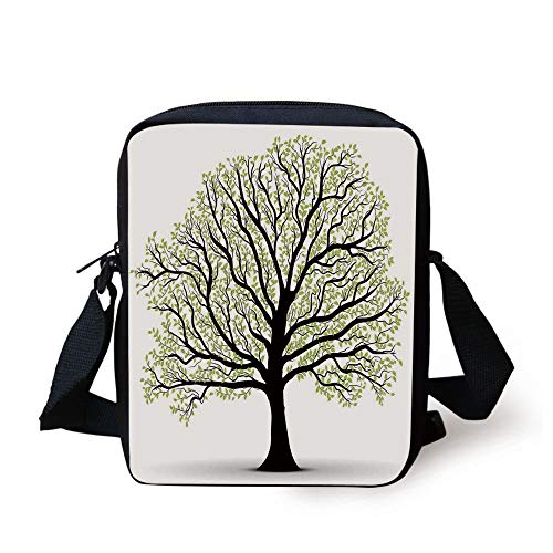 Tree of Life,Big Old Lush Tree with Lot of Leaves and Branches Nature Trust Home Artprint Decorative,Black White Green Print Kids Crossbody Messenger Bag Purse