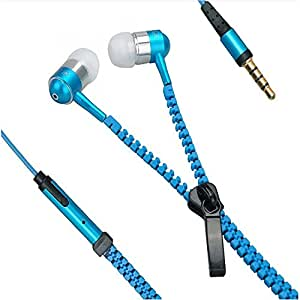 Zipper Style Earphones / Handfree For HTC Desire 816 - Blue