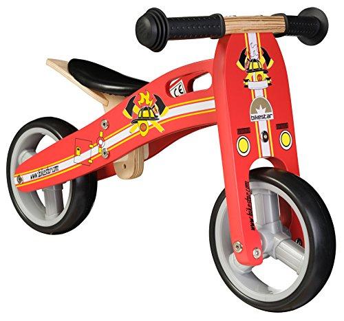 Preisvergleich Produktbild BIKESTAR® Frühstarter Kinderlaufrad für freche Zwerge ab ca. 18 Monaten  7er Natur Holz Edition  Feurig Rotes Feuerwehr Design