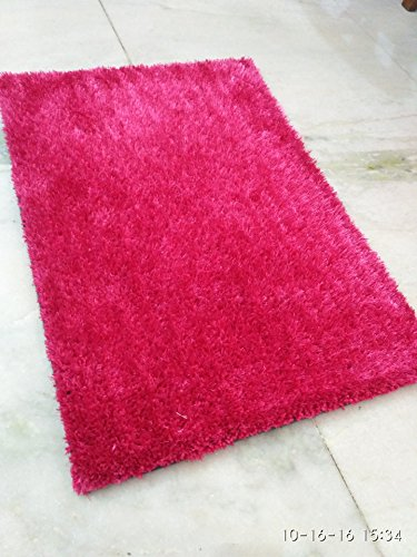 Polyester Blend Carpet Rug ( 60 X 90 cms.) (Pink)