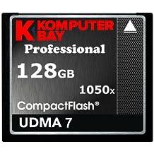 Komputerbay KB_128GB_COMPACTFLASH_1050X - Tarjeta Profesional Compact Flash de 128GB CF 1050x (Escritura de 100MB/S, Lectura de 160MB/S) velocidad extrema UDMA 7 RAW 128GB