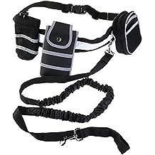 ULTNICE Extendido hasta 75 pulgadas manos libre perro correa, correa elástico perro reflexivo con Copa bolsa teléfono móvil bolsa - soporta menores 44 lb negro