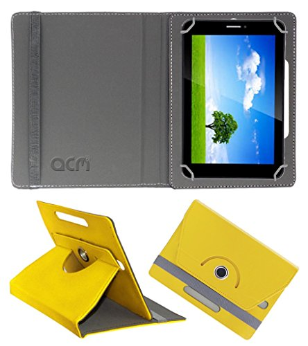 Acm Rotating 360° Leather Flip Case for Iball Slide 6351 Q40 Cover Stand Yellow  available at amazon for Rs.149