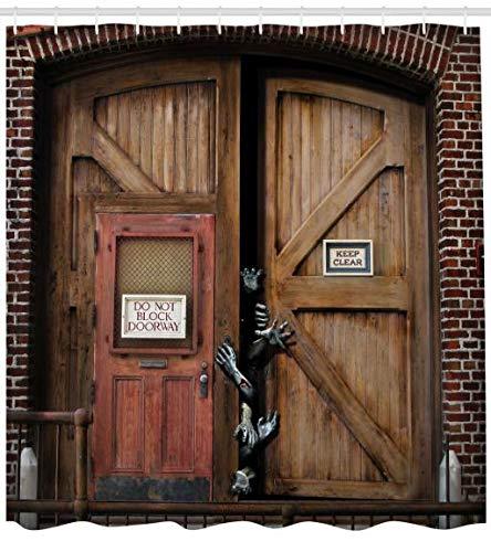 ABAKUHAUS Zombie Duschvorhang, Monster-Holz-Tür, Bakterie Schimmel Resistent inkl. 12 Haken Waschbar Stielvoller Digitaldruck, 175 x 180 cm, Umbra ()
