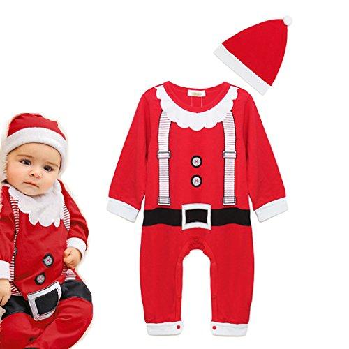 Vine Baby Weihnachten Strampelanzug kostüm lange Ärmel Strampler Weihnachtskostüm Kleinkinder Jumpsuits + Hut rot