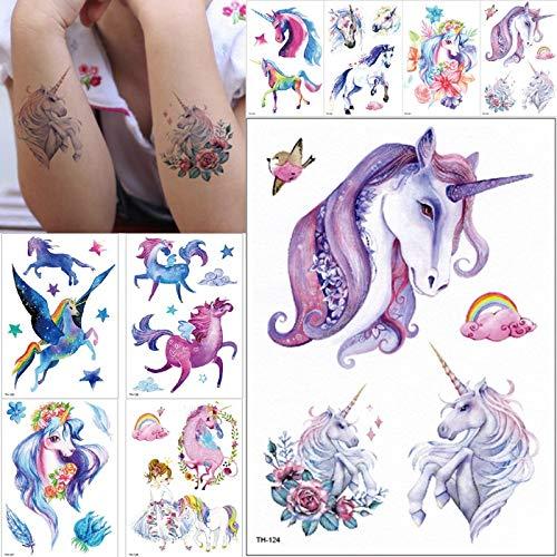 BRT Neue Cartoon Blau Einhorn Märchen Temporäre Tattoo Für Kinder Wasserdicht Flash Tattoo Aufkleber Mädchen Baby Körper Kunst Pferd (2 Packungen) zufällig