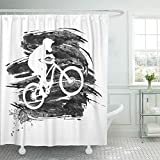WENEOO LA Shower Curtain Set Waterproof Adjustable Polyester Fabric Downhill Silhouette of Biker Descending on Mountain Bike Slope Action Active 60