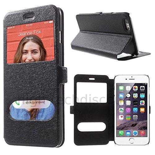 Housse etui coque portefeuille view case pour Apple iPhone 6S Plus (5.5) + film ecran - ROSE Noir view