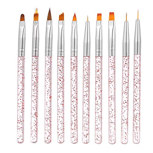 10pcs / set nail art brush, anself pittura disegno a penna builder flat gradient line gel uv punte di cristallo acrilico design strumenti per manicure