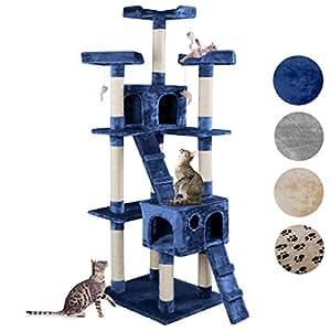 Happypet® CAT002-2 Arbre à chat Griffoir Grattoir 182cm Bleu
