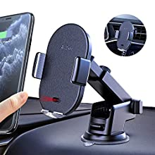 Auckly Wireless Car Charger,Qi Fast in Car Wireless Charger Automatic Sensor Car Phone Holder Windscreen Air Vent Mobile Phone Mount Compatible for Galaxy S20/S10/S9,for iPhone 11/11 Pro Max/XS/XR etc