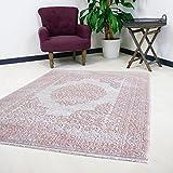 Teppich Rosa Pink Velour Design für Wohnzimmer Qualitativ mit Medaillon Muster Kurzflor