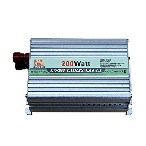 Auto Wechselrichter 200W Wechselrichter DC 12V zu AC Steckdose 220V Konverter Netzteil und Zigarettenanzünder-Adapter