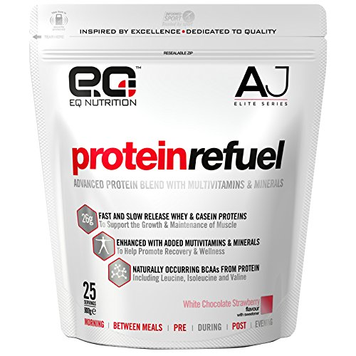 EQ Nutrition Anthony Joshua Elite Series Protein Refuel Supplement, White Chocolate Strawberry 900g