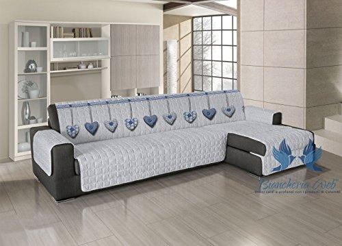 BIANCHERIAWEB Copridivano Trapuntato per Divani con Penisola Disegno Cuore Appeso 240-245 cm Blu