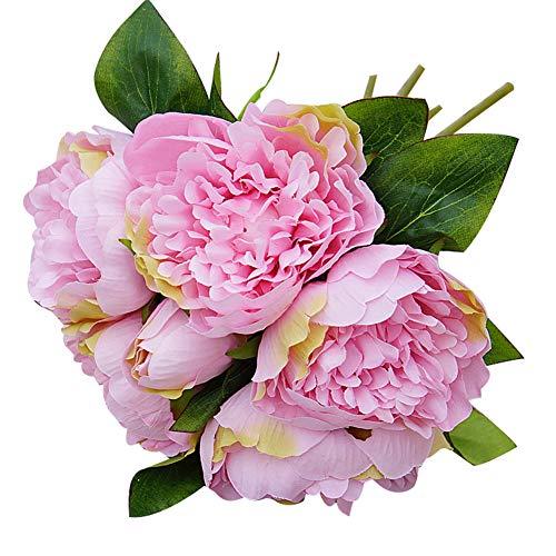 RYcoexs 1 Bouquet Artificielle Jardin De Fleurs De Pivoine DIY Partie Maison Décoration De Stade De Vacances Pink