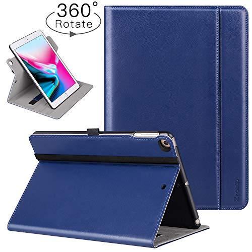 Ztotop Hülle für iPad 9.7 Zoll 2018/2017/Air 2/Air, [360 Grad Umdrehung/Rein Leder] Faltbare Geschäftshülle Multi-Winkel und Automatische Aufwachen Den/Schlafenden Smart Case Cover,Handschlaufe,Blau -