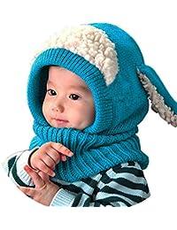 8f670debcfb Lukis Bonnet Tour du Cou Enfant Cagoule Bébé Garçon Fille Cache Oreilles  Chapeau Tricoté Hiver 0
