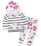 Baby Girl Spring Fall Hoodie Top Floral Pant Outfit Set