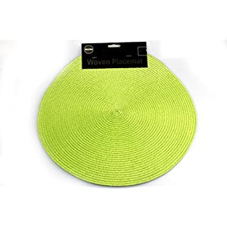 Adron 2pc Easy Clean 37cm Round Woven Placemats (Set of 2) (Green)