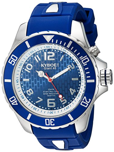 KYBOE! 'Power' Quartz Stainless Steel and Silicone Casual Watch, Color:Blue (Model: KY.48-008.15)