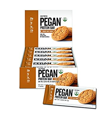 Pegan® Protein Bars (20g Organic Plant Protein ) 12 Bars (Ginger Snap Cookie) (Gluten Free) (170 Cal 1 Net Carb) by Julian Bakery