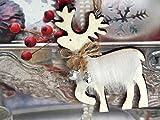 3 Anhänger Rentier Holz Weiß Weihnachten Baumschmuck Deko