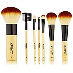 SHANY Cosmetics SHANY Bamboo Brush Set with Premium Synthetic Hair, Bamboo Handles and Cotton Pouch