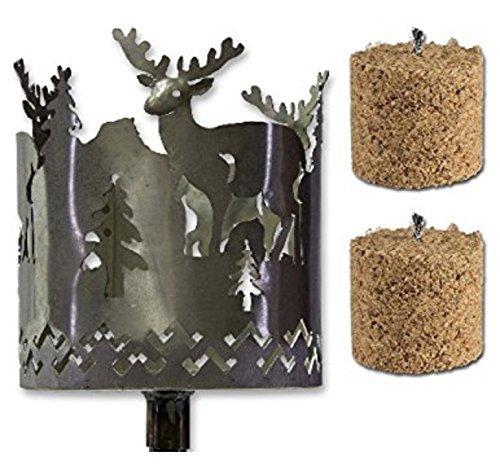Fackel Gartenfackel Hirsch Metall + Stiel+2 x Brennmittel