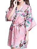 BIUBIONG Pigiama Kimono a Fiore Da Donna Raso Vestaglia Camice da Notte Con Cintura Elegante Vestaglia Pajamas Corta