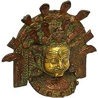 Buddhist CraftVatika Mahakala Maschera grande da parete, finitura in stile antico in ottone Buddha Tibet del Nepal Bhairav...