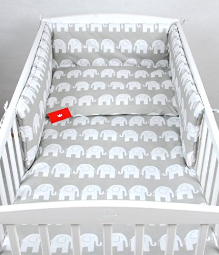 BABYLUX Bettwäsche Bezug 2 Tlg. 100 x 135 cm Kinderbettwäsche Bettwäsche Bettset Babybettwäsche (92. Elefanten Grau)