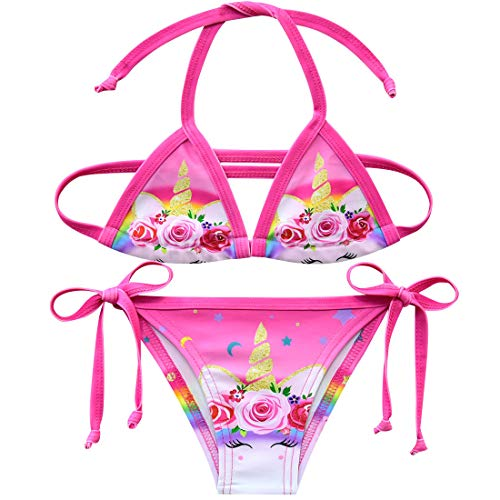 Traje de baño de Dos Piezas Colorido con diseño de Unicornio para niñas style5 Talla única