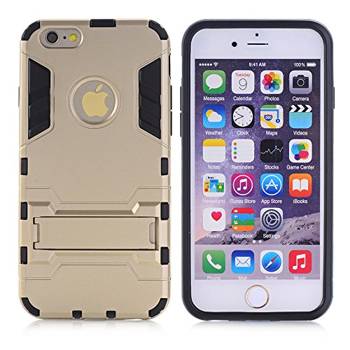 Pour Apple iphone 6s Plus (5.5inch) Coque Etui Case, Ougger Extreme Protecteur [Absorption Des Chocs] [Stand Frame] Armor Housse Hard PC + Soft TPU Beau Caoutchouc 2in1 L¨¦ger Back Gear Rear Argent or