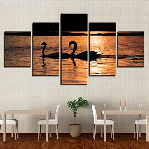 TBDZPS 5 Panel Kunst Modulare Bilder Schwäne Paar Im See Schwimmen Sonnenuntergang Landschaft Leinwand Malerei Druck Poster Room Wall Decor