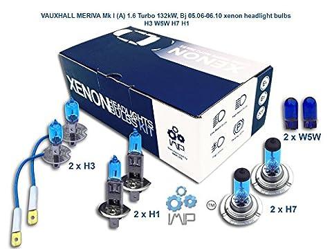 VAUXHALL MERIVA Mk I A 1.6 Turbo 132kW, Bj 05.06-06.10 xenon headlight bulbs H3 W5W H7 H1