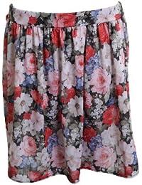 FANTASIA BOUTIQUE ® New Ladies Floral Print Mesh Insert Pattern Women's Short Skirt