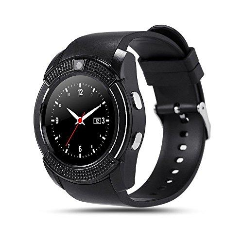 INDI V8 Bluetooth Smart Watch Armband Telefon Uhr mit Kamera SIM & Micro-SD Karten-Slot Schrittzähler LCD Touch Screen für Android Smartphones (Schwarz)