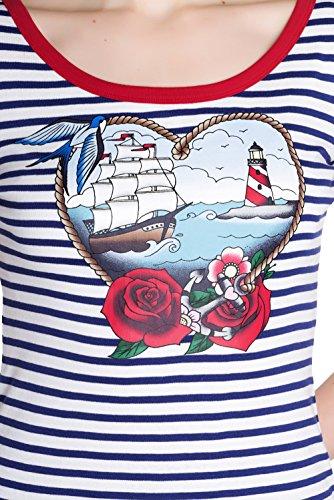Hell Bunny MARELLA Sailor 50s STREIFEN Ahoy HEART Nautical SHIRT Plus Size Blau-Weiß gestreift mit Motiv