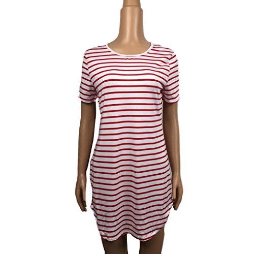 Yogogo Beiläufige Frauen schwarze lange Hülsen-Troddeln lose Minikleid (L) Rosa