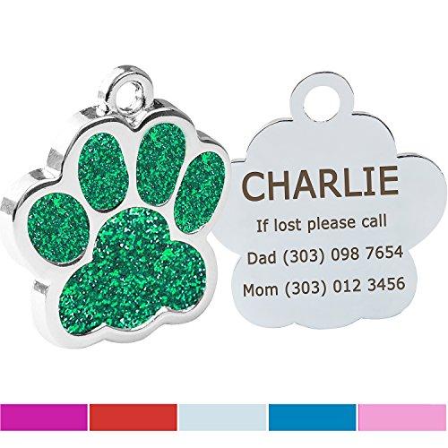 Hundemarke mit Gravur/Gratis Schlüsselringe/Personalisierte Funkelnd Pfote ID-Tag/für kleine Mittel Hunde Katzen/Benutzerdefinierte Tags für Haustiere/GRÜN 25 * 25mm (Hund Id-tags Schalldämpfer)