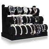 Grinscard - Design Samt Uhrenständer für Aufbewahrung & Präsentation - Farbe: Schwarz