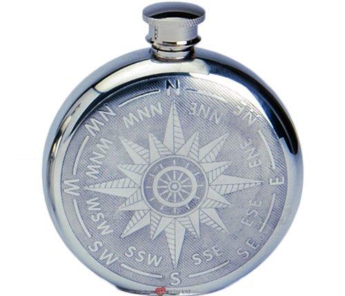 6 Unzen Zinn Geist Liquor Hip Flask - Rund mit KompaÃ? der Stern-Entwurf