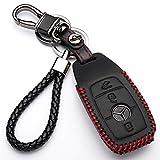 Coque en Cuir avec Porte-clés pour clé Mercedes Classe-E S A CLA GLA GLE GLC GLK AMG 3 Boutons Protection télécommande Voiture